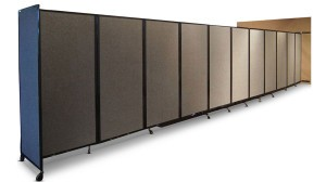 360 Folding Portable Room Divider, Wall Mountable, fully extended open.